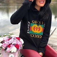 GUCCI classic printed logo long-sleeved hooded sweatshirt