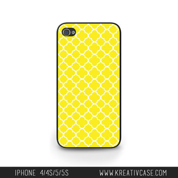 Yellow iPhone 4 Case, iPhone 5, iPhone 5C, iPhone 5S/5C, Quatrefoil Yellow iPhone Case, Personalized iPhone Cover - HT0001