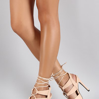 Qupid Snake Embossed Corset Lace Up Peep Toe Heel