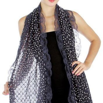 Lolita Love Mesh Knit Mini Dots and Lace Trim Fashion Scarf - Navy