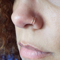 Set of 2 Tiny Rose Gold Double Nose Ring Lip Ring Fake Piercing