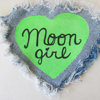 MOON GIRL Heart Shaped Shredded Denim Green Sew-On Patch -- Kawaii Alien Babe Acid Space Grunge Patch