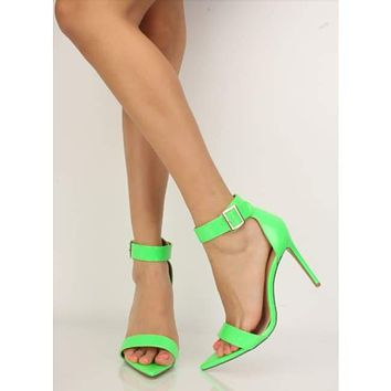 Neon Green Patent Single Sole High Heels
