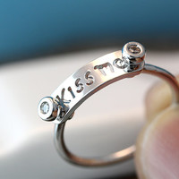 Kiss Me Letter Ring Infinite Love Unique Funny Ring Jewelry Gold Silver Gift Idea