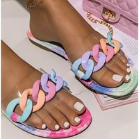 New candy color fashion chain slippers women sandals shoes