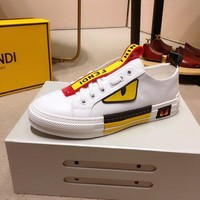 Fendi 2019 new color matching texture  splicing flat sports shoes