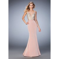 La Femme 22767 Sparkly Beaded Deep Plunging Prom Dress
