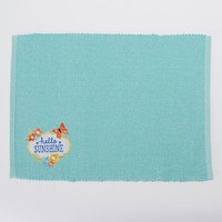 SONOMA life + style Embroidered ''Hello Sunshine'' Placemat (Blue)