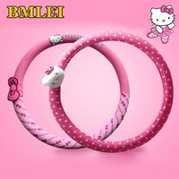 Car Accessories Cartoon Pink Hello Kitty Steering Wheel Cover Natural Rubber Healthy Breathable Universal 38cm For Women Girl
