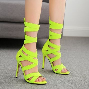 Fashionable zipper stretch cloth boots with peep-toe slim heels and high heels