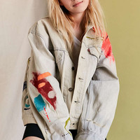 UO Design X Urban Renewal Vintage Abstract Painted Denim Jacket - Urban Outfitters