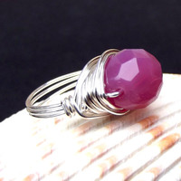 Rose Opal Ring: Faceted Pink Fine Silver Wire Wrapped Large Bauble Statement Cocktail Jewelry, Size 7