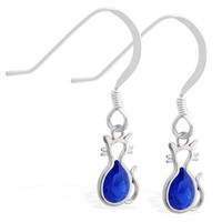 Sterling Silver Earrings with small dangling Sapphire jeweled cat charm