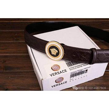 Perfect VERSACE Smooth Buckle Belt Leather Belt Woman Fashion