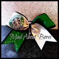 Starbucks Inspired Custom Cheer Bow  Green & by MadAboutBows1