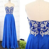 Strapless Royal Blue Prom Dresses, Custom Lace  Chiffon Long Formal Gown, Sweetheart Royal Blue Long Prom Gown, Wedding Party Dresses