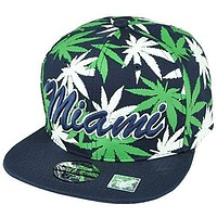 Miami Florida Sunshine State Marijuana Navy Blue Weed Snapback Flat Bill Hat Cap
