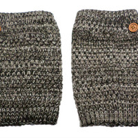 Women's Brown White Mix Popcorn Pattern Crochet Knit Button Boot Cuffs, Boot Toppers, NEW COLORS, gift