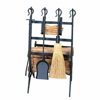 UniFlame W-1246 Black Log and Kindling Rack With Fire Place Tool Set