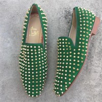 DCCK Christian Louboutin Slip On CL fashion casual shoes red sole for men and women jeans 90524