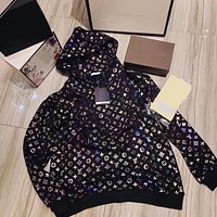 Louis Vuitton's new bronzing hooded pullover sweater mid-length loose large size laser colorful printing coat