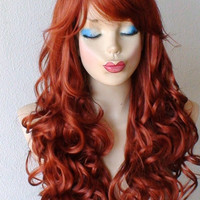 HOLIDAY SALE // Red wig. Auburn color wig. Long curly hair wig. Natural looking High quality synthetic wig.