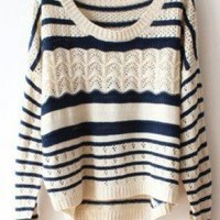 Deep Blue Loose Hollow Striped Sweater