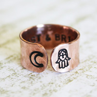 Be vast & Brilliant,hamsa hand crescent moon copper secret message ring,customizable cuff ring,inspirational personalized christmas gift
