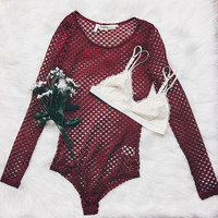 Shay Mesh Bodysuit (Red)