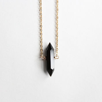 Onyx Solitaire Spike Necklace