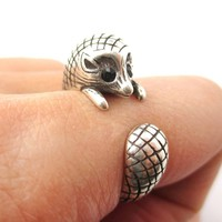 Realistic Hedgehog Porcupine Shaped Animal Wrap Ring in Silver | US Size 6 to 9