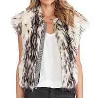 Twelfth Street By Cynthia Vincent Faux Fur Vest in Ivory