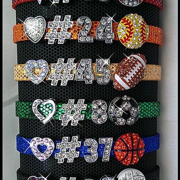Personalized Bling Sports Rhinestone Charm Bracelet with Heart and Players Number