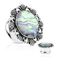 Abalone Centered Vintage Flower Top Double Flared WildKlass Tunnel Plugs