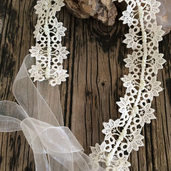 Bridal Hair Wrap, Bridal Lace Headband, Pearls Embroidered Lace Wedding Hairband, Bridal Headpiece, Hair Jewelry, Beadwork, Women's Gift