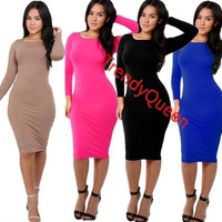 Womens Long Sleeves  Prom Party Cocktail Sheath Dress Clubwear = 1932195588