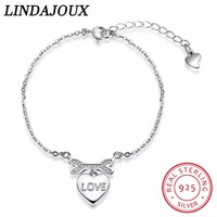 LINDAJOUX Authentic 925 Sterling Silver Fashion Heart-shaped Zircon Bracelet 925 Silver Charm For Women Bracelets Jewelry