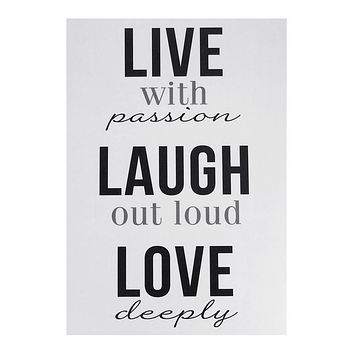 """""""Live, Laugh, Love"""" Quotes Wall Art Sticker, 12-Inch"""