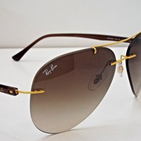 Authentic Ray-Ban RB 8058 157/13 Gold Brown Gradient LightRay Sunglasses $275