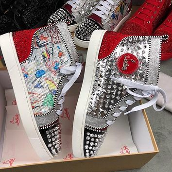 Christian louboutin Full diamond high cut red soled shoes