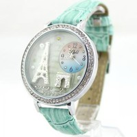 Mint Green Polymer Clay Eiffel Tower Watch by aviva905997686 on Zibbet