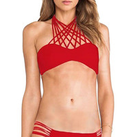 Red Strappy Halter Bikini
