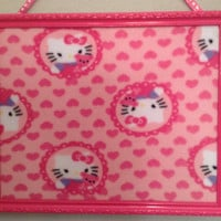 Hello Kitty Bulletin memo cork board photo organizer holder sale 35% off up-cycled upholstered pink purple child playroom decor gift idea He