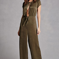 Satin Self-Tie Jumpsuit