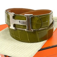 Authentic HERMES Constance Reversible H Buckle Belt Green Alligator #75 V13449