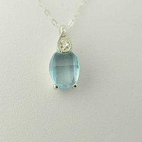 "925 Sterling Silver Blue Topaz & White Topaz Gemstone Pendant Necklace 18"" chain"
