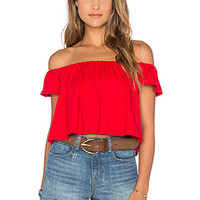 Off the Shoulder Crop Top in Perfect Red