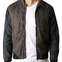 LE3NO Mens Fully Lined Windproof Moto Jacket with Contrast Sleeves (CLEARANCE)