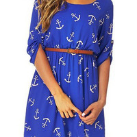 Blue Anchor Printed Mini Dress With Belt
