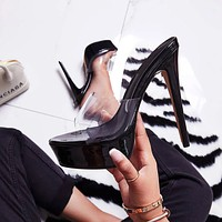 2020 new women's transparent fish mouth high heel platform sandals and slippers shoes